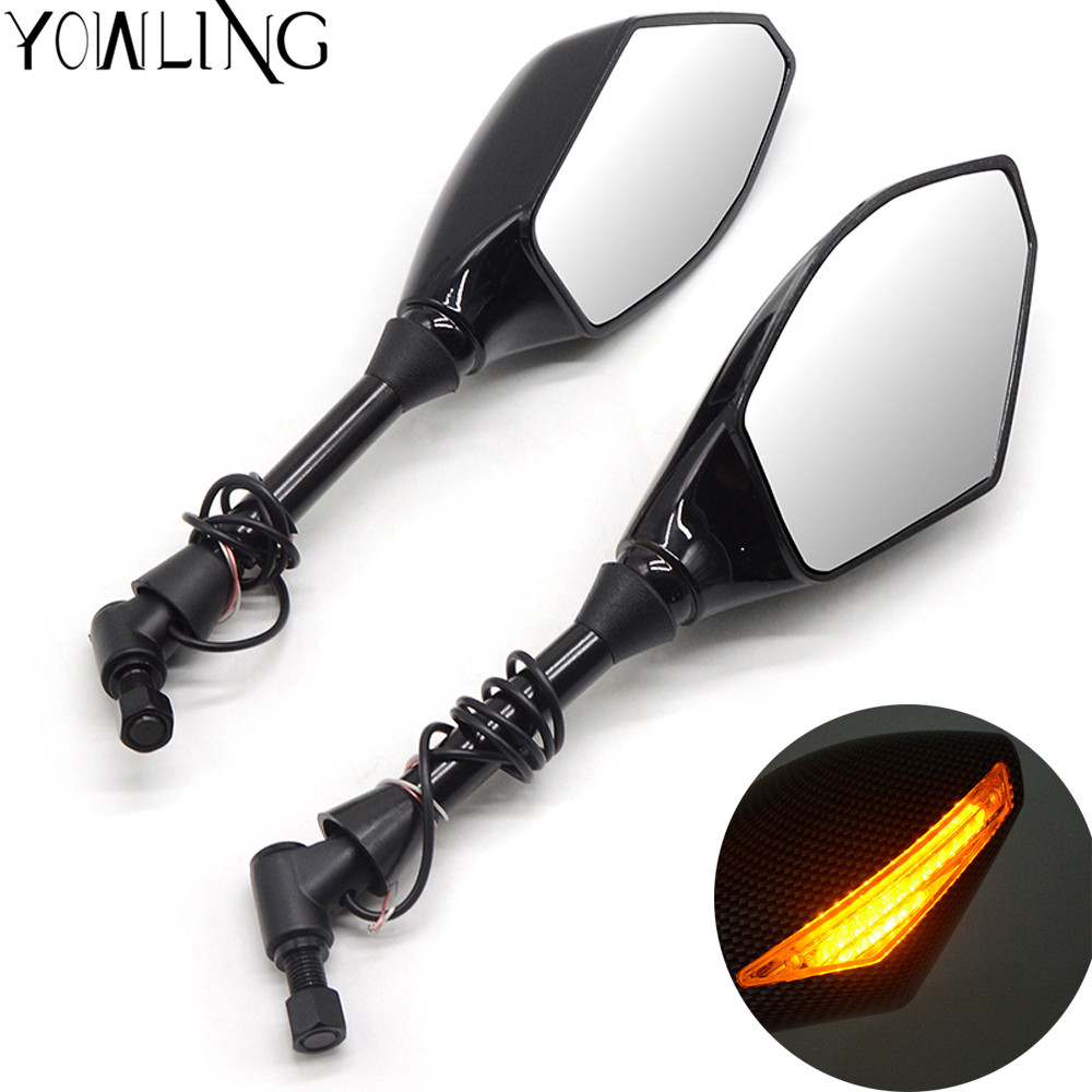 New Motorcycle Indicator Snake skin carbon fiber Rearview Side Mirrors LED Turn Signals Fit For Street bikes Cruiser Scooters