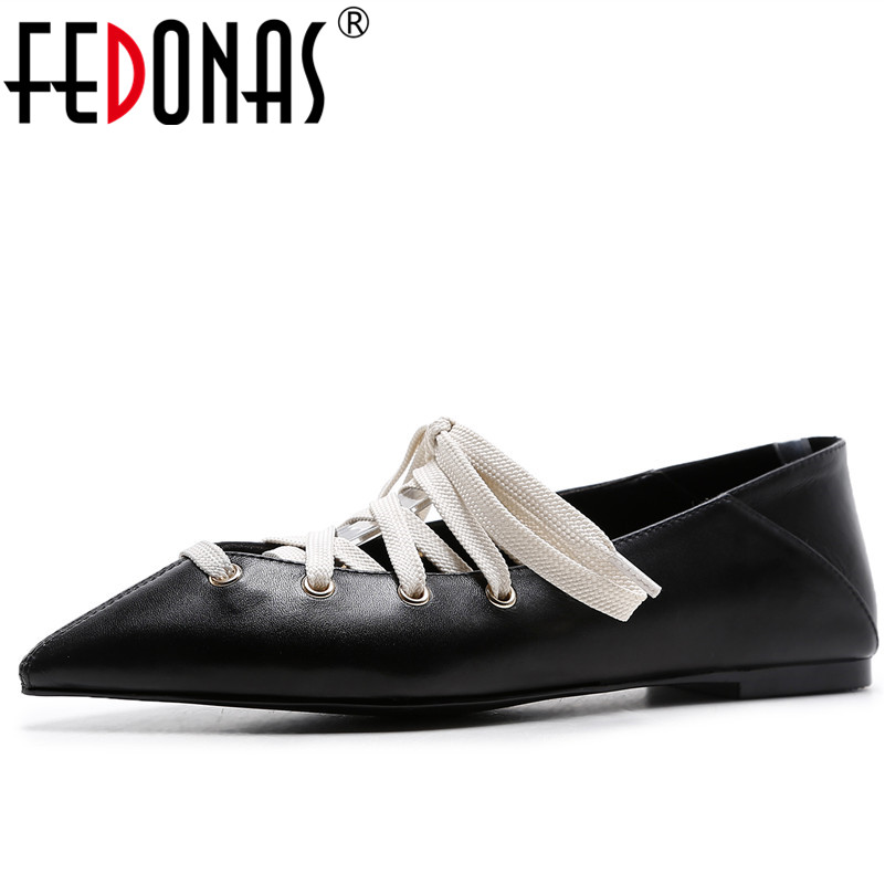 FEDONAS New Fashion 2018 Flats Heels Spring Shoes Sexy Pointed Toe Lace Up Flat Heels Shoes Retro Genuine Leather Shos Woman odetina 2017 new designer lace up ballerina flats fashion women spring pointed toe shoes ladies cross straps soft flats non slip