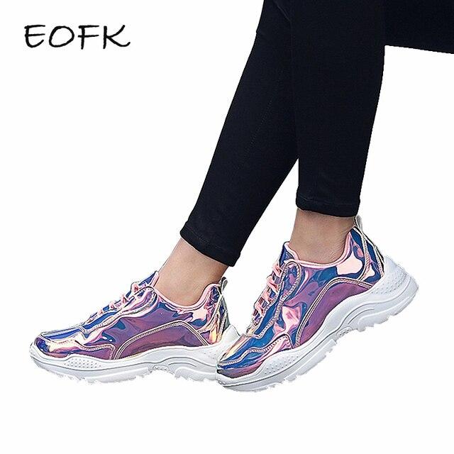EOFK Phụ Nữ Giày Giày Phụ Nữ Mùa Xuân Mùa Thu Màu Hồng Sáng Bóng Bling Vulcanize Giày Căn Hộ Glinted PU Ren Lên của Phụ Nữ Sneakers