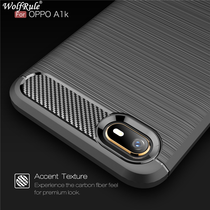 Wolfrule Case Oppo A1K Case Tough Bumper Carbon Fiber Cover For Oppo A1K Cover Silicon Shockproof Case For Oppo A1K A1 K CPH1923