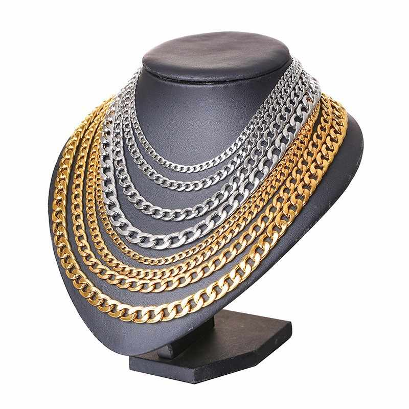 Silver Gold Filled Solid Necklace Curb Chains Link Men Choker Stainless Steel Male Female Accessories Fashion 2018