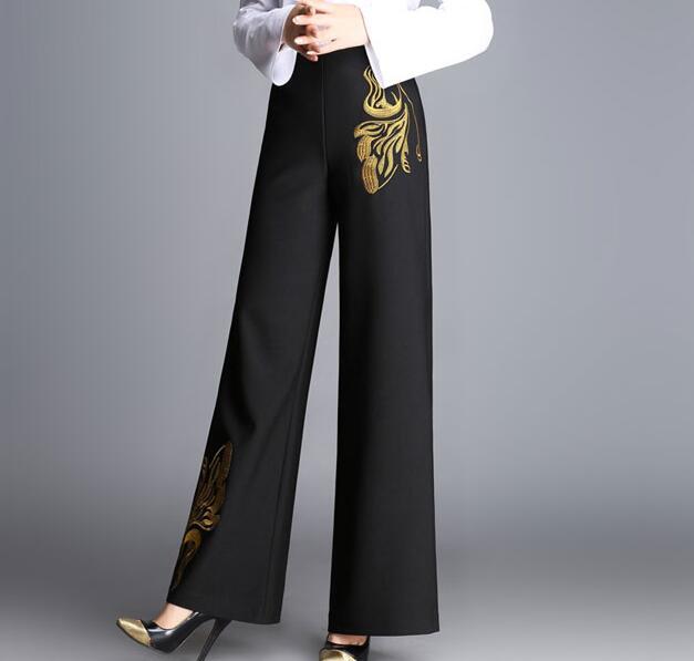 p2 Ancha Otoño Casual De Moda Las Para Primavera Más Negro Alta Pierna Nueva P1 Mujeres Tamaño Ol Pantalones Femeninos Bordado Ylq0703 Cintura qUwad1xq