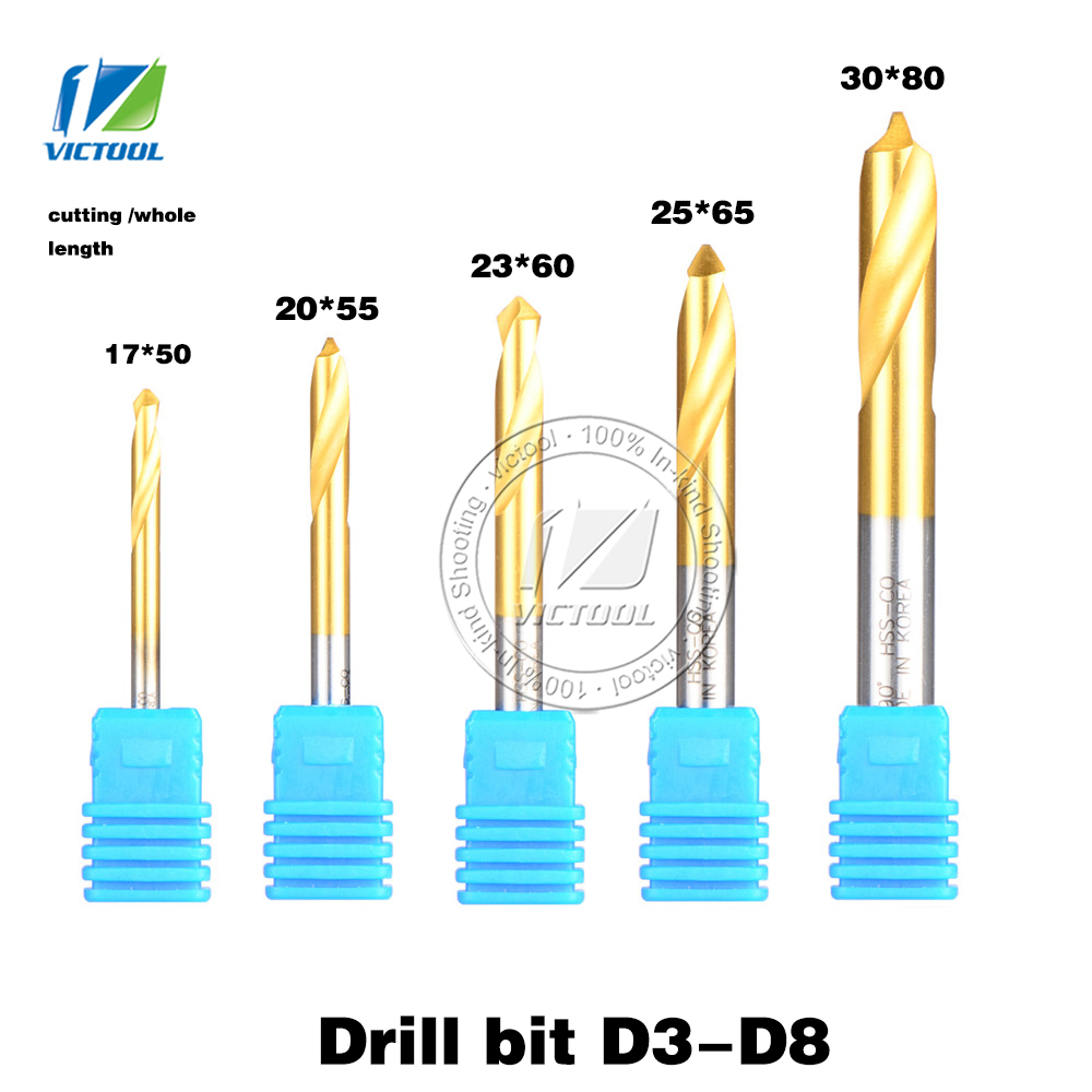5pcs/set D3/D4/D5/D6/D8 HSS Containing cobalt 90degree Chamfer Drill Bit High Speed Steel Point Center Drill Bit Free shipping d