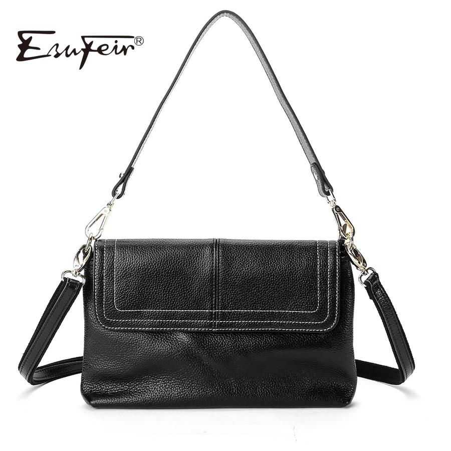 ESUFEIR Fashion Genuine Leather Women Messenger Bag Cowhide Shoulder Bag Brand Women bag Satchels Crossbody Bag bolsa feminina цена