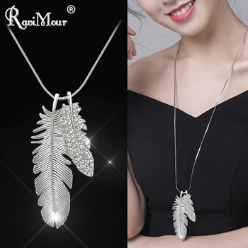 d57ab963573e RAVIMOUR Collier Femme moda suéter cadena larga collar mujeres joyería 2018  pluma hoja gargantilla collares colgantes