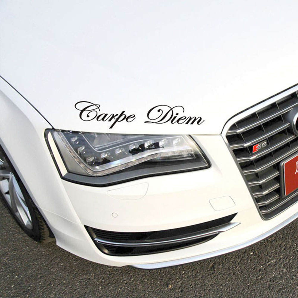 Image 5 - 1 PC Carpe Diem Car Stickers Vinyl Car Styling Art Sticker Creative Car Window Body Lettering Decal Decor DIY Accessories Drop-in Car Stickers from Automobiles & Motorcycles