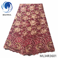 BEAUTIFICAL Nigerian lace fabrics embroidery rose cotton lace fabric with stones Latest style african swiss lace fabric ML34R36