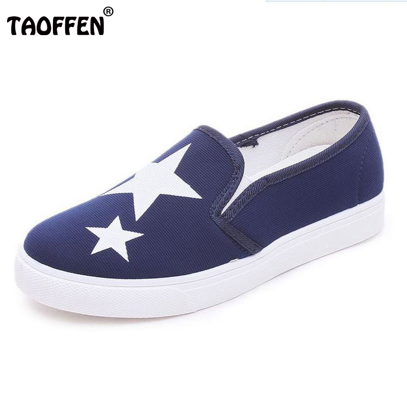 TAOFFEN Women Flat Shoes Slip on Breathable Women's Shoes Ladies canvas Shoes Fashion Style Spring Summer Flats Shoes Size 35-40 spring summer women casual shoes fashion canvas mother driving shoes breathable flat with shoes apple patchwork canvas