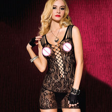 High Elasticity Black Floral Fishnet Baby Doll Chemise Women lingerie Sexy Hot Erotic Apparel Nightwear Clubwear Dress
