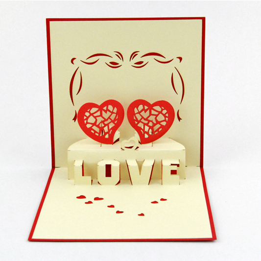 You and me love card /3D pop up greeting card/ handmade LOVE heart  Free shipping music card spiral pop up musical notes 3d card music instruments pop up card bday pop up card