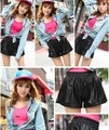 1 piece PU Leather Shorts Boot Sexy Loose Elastic Waist Fashion Winter  hot short with Pockets