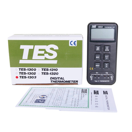 TES-1303 Digital Dual Input K Type Thermocouple Thermometer Industrial Thermometer Temperature Reader Sensor -50 to +1300