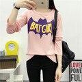 Ropa de la marca 2016 Del Otoño Del Verano de Las Mujeres Camiseta de Manga Larga Batman Batgirl Letra de la Impresión Floja Camisetas Mujer Tops Tee JA2267