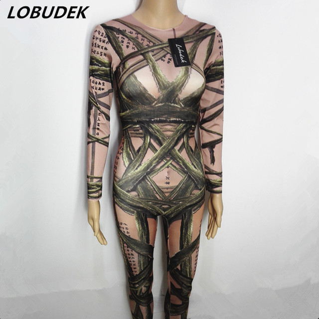 d4c057efa758 Halloween Mummy 3D Tattoo leotard jumpsuit bandage printing Rompers Club  Bar female singer Role costumes DJ Pole dancing Rompers