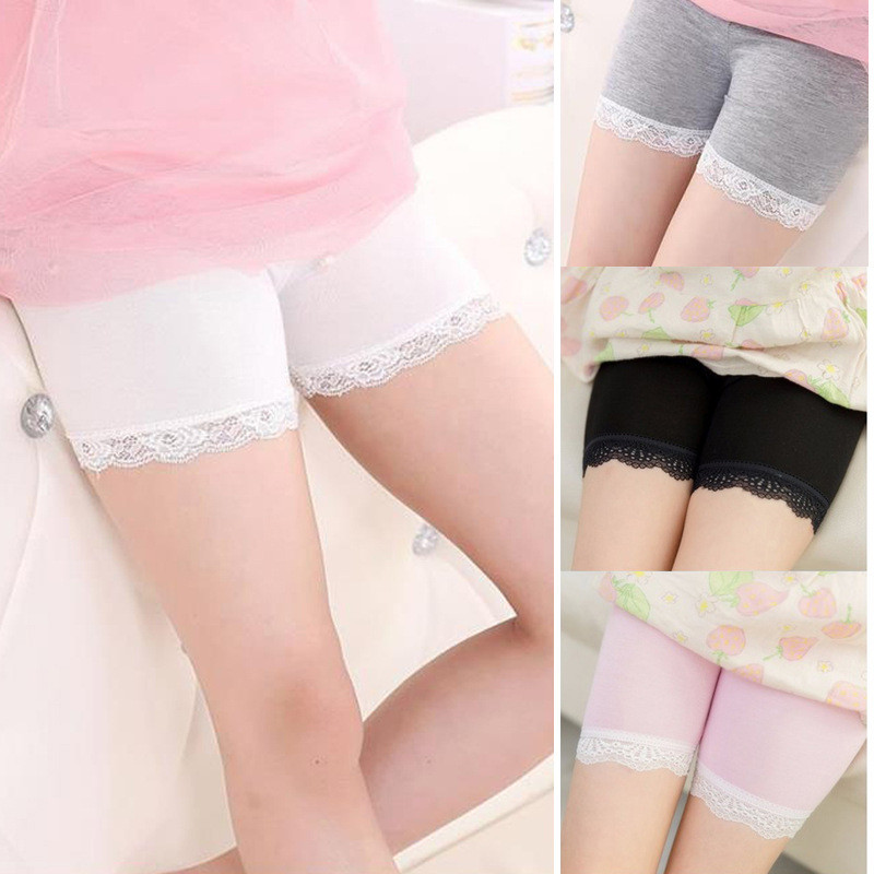 High Quality Girl Safety Shorts Pants Solid Underwear Soft Elastic Cotton Leggings Girls Lace Briefs Short Pants For Children image
