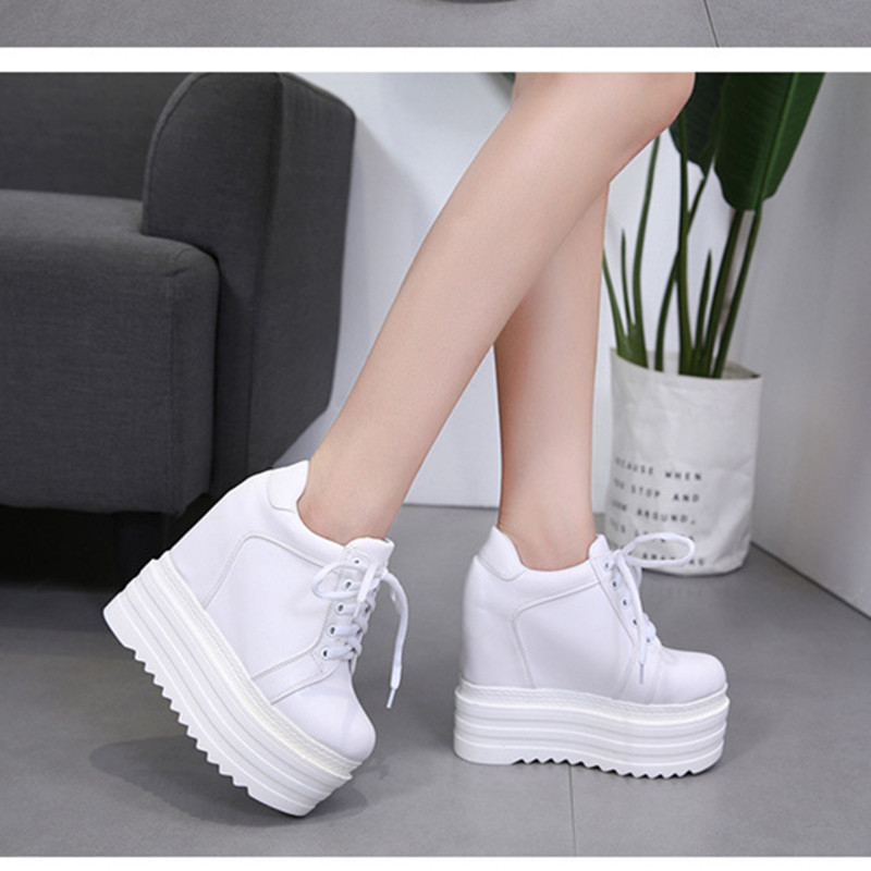 SWYIVY 13cm Super High Heel Female White Shoes Sneakers Platform 2018 Autumn Spring Female Casual Shoes Wedge Muffin Sneakers   SWYIVY 13cm Super High Heel Female White Shoes Sneakers Platform 2018 Autumn Spring Female Casual Shoes Wedge Muffin Sneakers