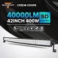 """Auxbeam 42 """"curvo Cree Chip 400 W Car Driving Led Light Bar Captador Combo Trabalho LED Light Bar Offroad SUV Farol de 42 polegadas Led Bar"""