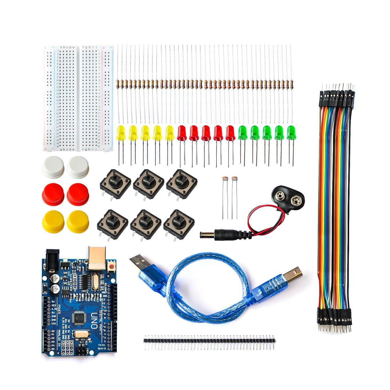 10 Sets new Starter Kit UNO R3 mini Breadboard LED jumper wire button for smart kit