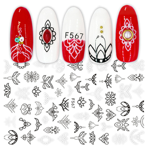 Image 4 - 1pcs 3D Nail Stickers Sliders Black White Decals Flora Vine Jewelry Necklace Tropical Fern Leaves Geometry Manicure BEF564 573