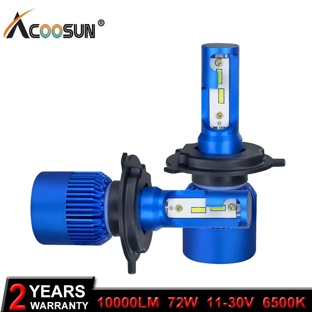 AcooSun H4 H7 Led de la linterna del coche H1 H8 H9 H11 HB4 HB3 9006 9005 CSP Chip 10000LM 72 W 6500 K 12 V coche Auto de la luz de la lámpara de la niebla