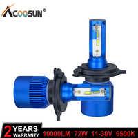 AcooSun H4 H7 Led reflektor samochodowy H1 H8 H9 H11 HB4 HB3 9006 9005 CSP Chip 10000LM 72W 6500K 12V światła samochodowe lampa przeciwmgielna do samochodów
