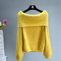 Sexy Off Shoulder Pullover Sweater Autumn Winter Mohair Sweater Women Pull Jumper Short Pullovers Knitted Sweaters Tops C3841