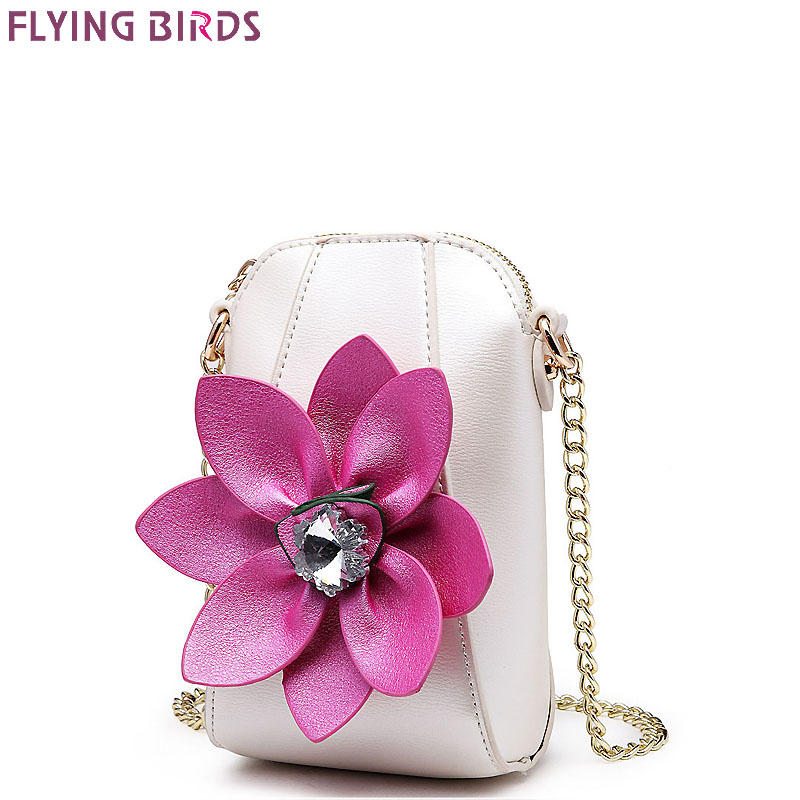 FLYING BIRDS Mini Bags Chains Rhinestone Shoulder Coins <font><b>Purse</b></font> Mobile <font><b>phone</b></font> bag Women Messenger Bags High Quality Flower Handbag