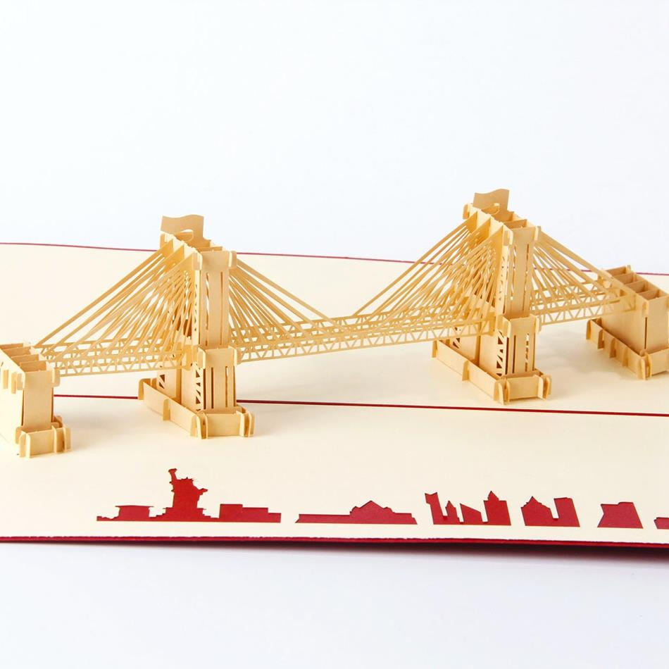 Creative Gifts 3D Pop Up Card Greeting & Gift Handmade Card in Red Brooklyn Bridge music card spiral pop up musical notes 3d card music instruments pop up card bday pop up card