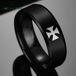 Nextvance Knight Templar Cross Rings Black Punk Crusaders Band Rings for Mens Promise Jewelry Anel Dropshipping
