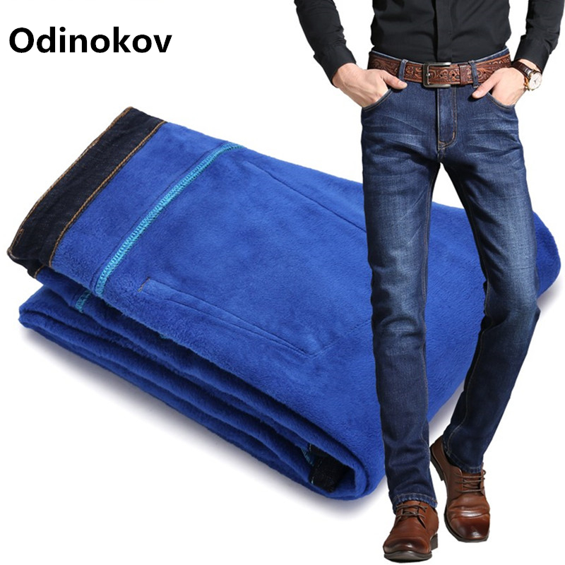 цены Odinokov Mens Winter Blue Fleece Jeans Lined Stretch Denim Warm Jeans For Men Designer Slim Fit Brand Pants Jeans Black Blue