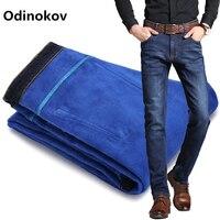 Odinokov Mens Winter Blue Fleece Jeans Lined Stretch Denim Warm Jeans For Men Designer Slim Fit