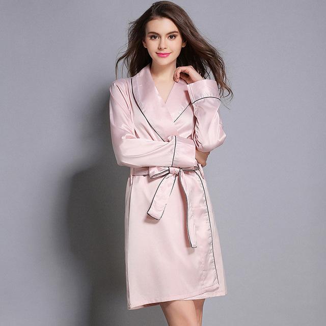 Mujeres classic pink silk robe sexy homewear sueño de lujo batas camisón de las mujeres