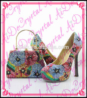 Aidocrystal Flower Around Crystal Mix Colour Kitten Heels Wedding Party Shoes And Handbag