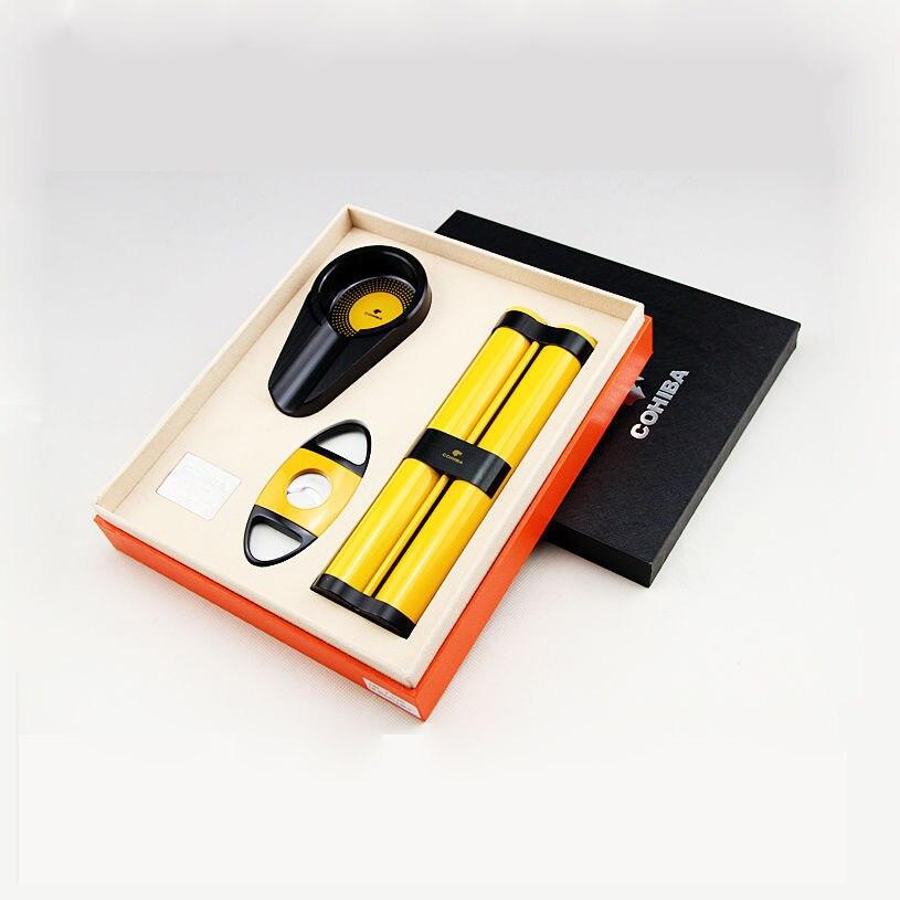 COHIBA porte-cigare jaune de haute qualité cave à 2 tubes avec cendrier noir et ensemble de coupe