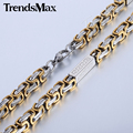 Trendsmax 7mm Stainless Steel Greek Pattern Byzantine Box Link Necklace Fashion Mens Chain Jewelry KN464