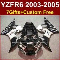 חלקי גוף שחור לבן מערב R6 עבור ימאהה r6 מעטפת סטי 03 04 05 YZF R6 2003 2004 2005 ערכות חרטום מותאם אישית + 7 מתנות ET5