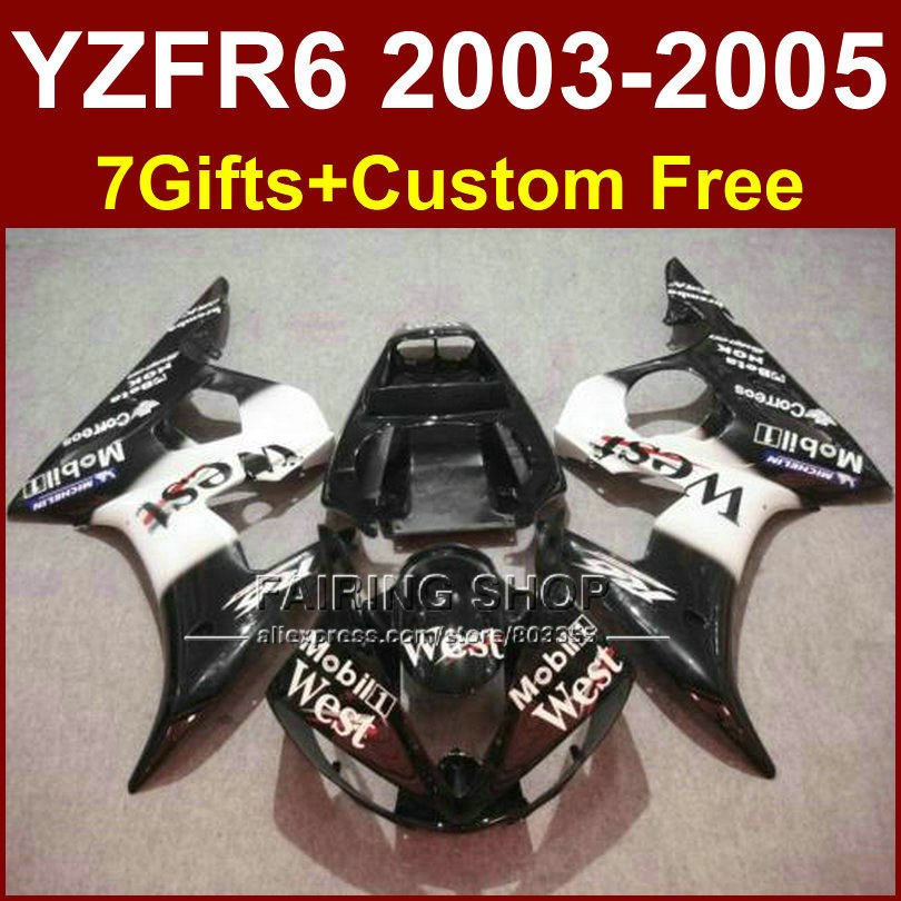 West white black body parts R6 for YAMAHA r6 fairings sets 03 04 05 YZF R6 2003 2004 2005 custom fairing kits +7Gifts ET5 red black moto fairing kit for yamaha yzf600 yzf 600 r6 yzf r6 1998 2002 98 02 fairings custom made motorcycle bodywork c821