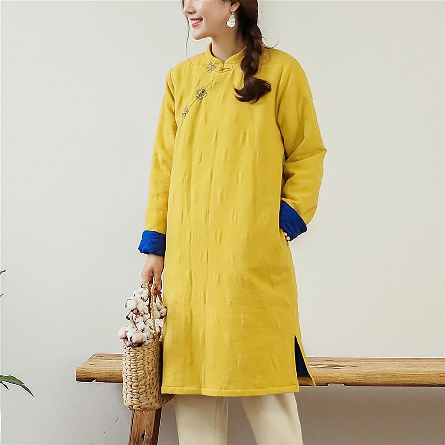 Jaune Rembourré Jacquard Vêtements Hiver Coton Femmes Stand Lin Littéraire Automne brodé Col Main Original n14qOAq
