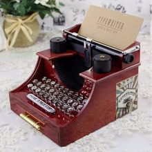 New Home Retro Vintage Typewriter Music Box for Home Room Office Mechanical Decoration Kids Retro Music Box