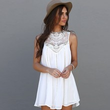 BEFORW Women Clothes Casual Round Neck Summer Dress Sexy Sleeveless Mini Party Dresses Vestidos Elegant Lace White Beach Dress