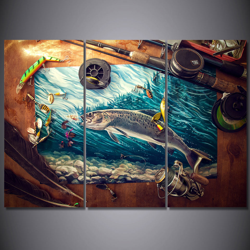 Fishing Rod Tuna Blue Ocean Canvas Wall Art