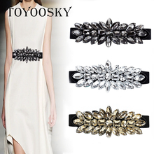 2018 Luxury Designer Crystal Big Rhinestone Flower Women Belt Elegant Elastic skinny belt for women cinto feminino TOYOOSKY
