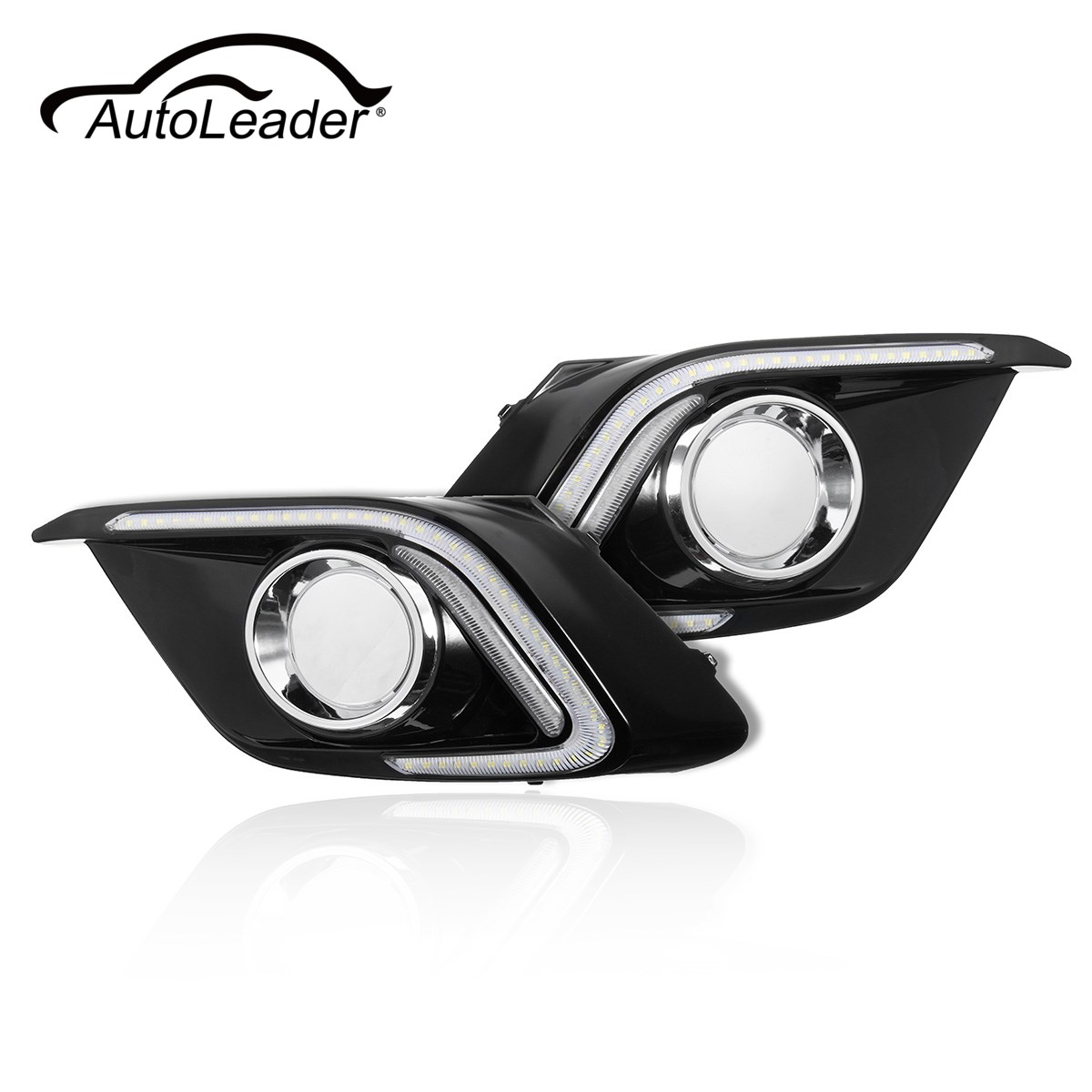 AutoLeader 1Pair 20W Car LED Light DRL Daytime Running Fog Light Lamp Turn Signal Lights For Mazda 3 Axela 2014-2015 new arrival a pair 10w pure white 5630 3 smd led eagle eye lamp car back up daytime running fog light bulb 120lumen 18mm dc12v