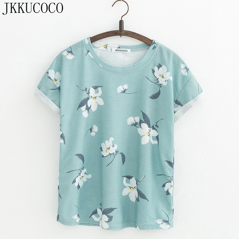 Jkkucoco orchid flowers print women t shirt short sleeve for Print one t shirt