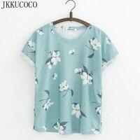 JKKUCOCO Orchid Flowers Print Women T Shirt Short Sleeve Summer T Shirt Women Cotton T Shirt