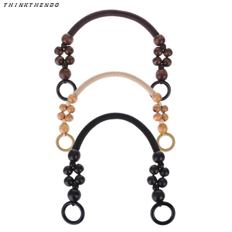 THINKTHENDO New 1 Pc Wood Bead Rope Bag Strap Handle Shoulder Belt For Handbag DIY Replacement Bag Parts Accessories