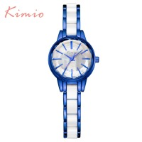 2018 New Brand Kimio Quartz-  watch   Ladies Imitation Ceramic   Watch     women   Luxury Gold Royal blue   Bracelet     Watches   with gift box