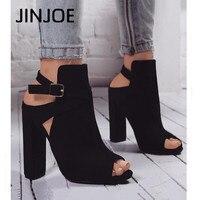 JINJOE woman shoes High heels Rome style Gladiator pumps Ankle Buckle Strap sandals Peep Toe Flock Square heel party shoes 10c'm