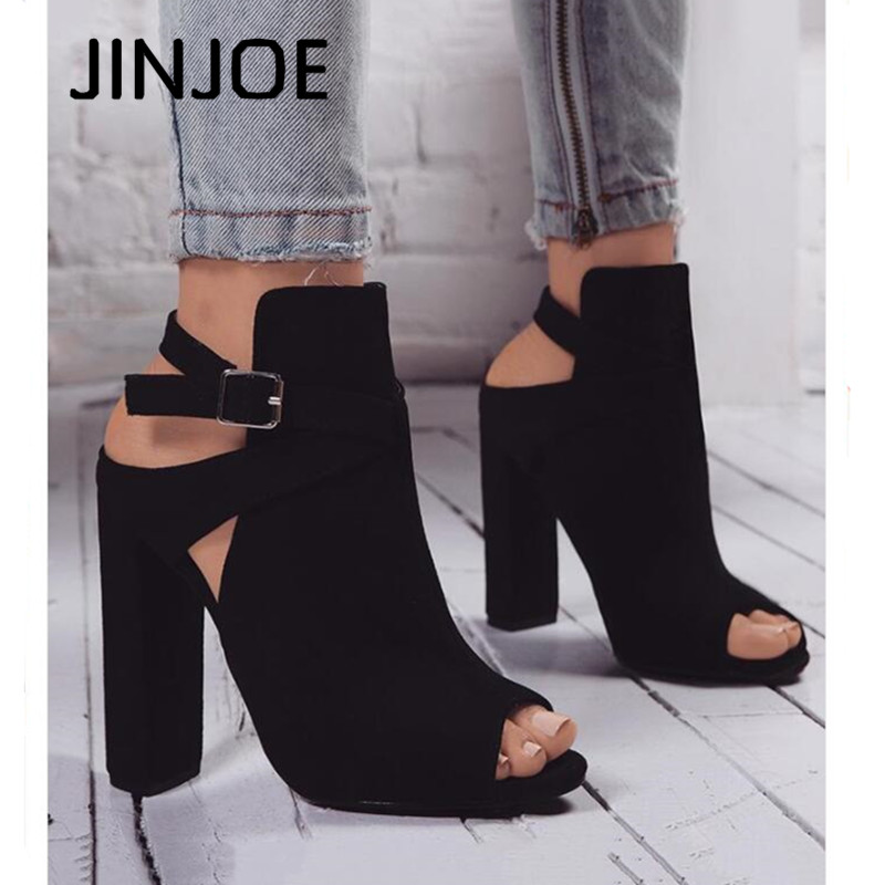 JINJOE woman shoes High heels Rome style Gladiator pumps Ankle Buckle Strap sandals Peep Toe Flock Square heel party shoes 10c'm