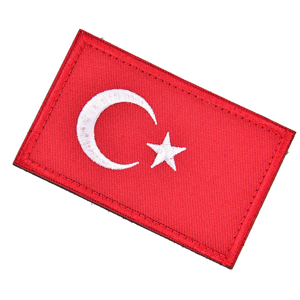 Turkish Flag Embroidered Badge Military Tactical Backpack Caps Badges 8cmx5cm Flag Of Turkey Patches Fabric Armband Stickers